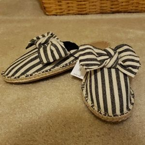 Striped Mules with Bow